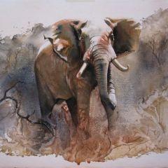 Дикая Африка: жирафы, зебры и слоны на акварелях Карен Лоренс-Роу