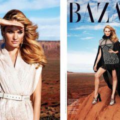 Кэндис Свэйнпоул в августовском Harper's Bazaar US