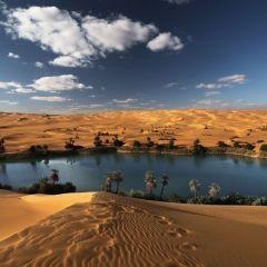 Сказочный оазис в африканской пустыне около озера  Убари
