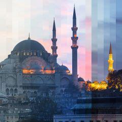 Фотограф показывает здание днем и ночью