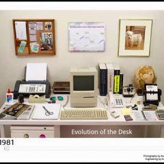 Прогресс налицо. Рабочее место в офисе с разницей в 30 лет.