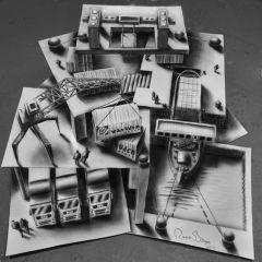 Объемные рисунки Ramon Bruin