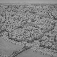 Художник по памяти рисует города