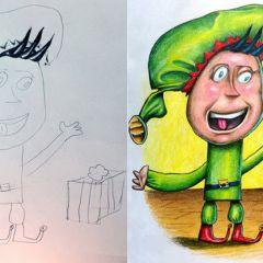 Отец доводит до ума рисунки своих детей