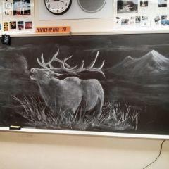 Учитель ИЗО рисует на доске, вдохновляя учеников