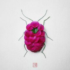 Насекомые из лепестков цветов Raku Inoue