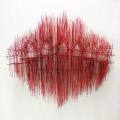 Парящие дома из палочек: скульптуры David Moreno
